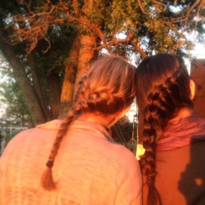 Mallory and I, enjoying the sunset and having cute braids, out in the country on Sinister 2.