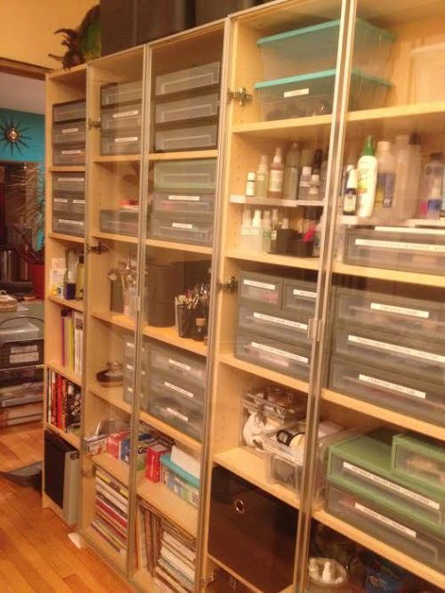 Shelves and drawers and bins...