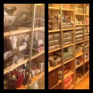 Before and after, a shot of the same bookshelves.