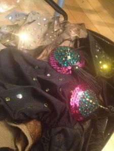 Pieces from the last solo I did. Those rhinestones are fiery!